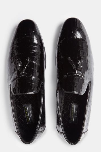 Moss London Marlow Black Patent Mock-Croc Tassel Slipper Shoes