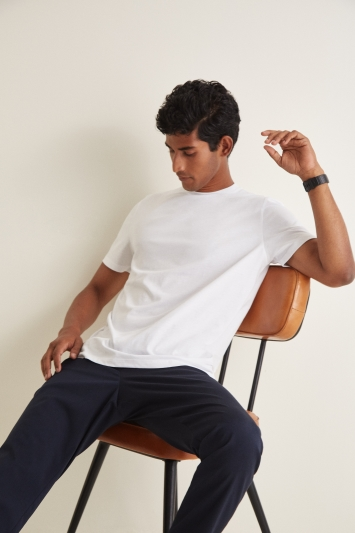 Moss London White Short-Sleeve Crew-Neck T-Shirt