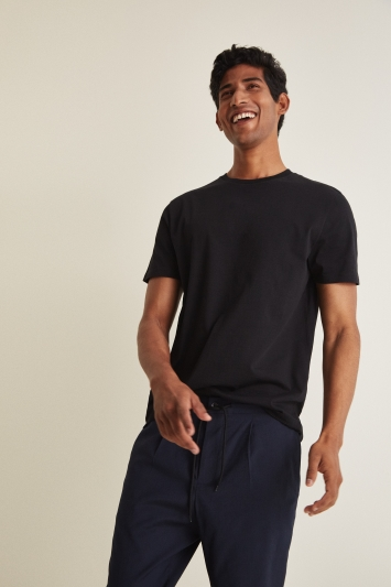 Moss London Black Short-Sleeve Crew-Neck T-Shirt