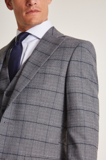 Moss 1851 Tailored Fit Grey Blue Check Jacket
