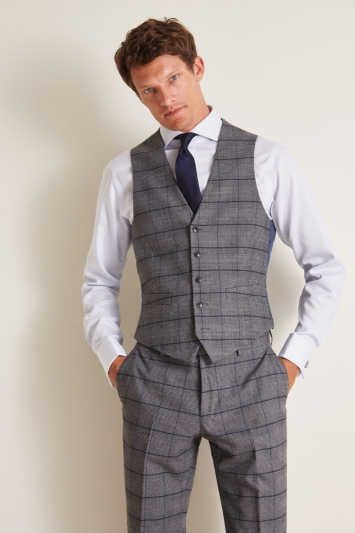 Moss 1851 Tailored Fit Grey Blue Check Waistcoat