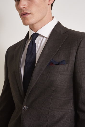 Moss 1851 Tailored Fit Brown Grid Check Jacket