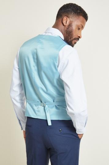 Moss 1851 Tailored Fit Indigo Sharkskin Waistcoat