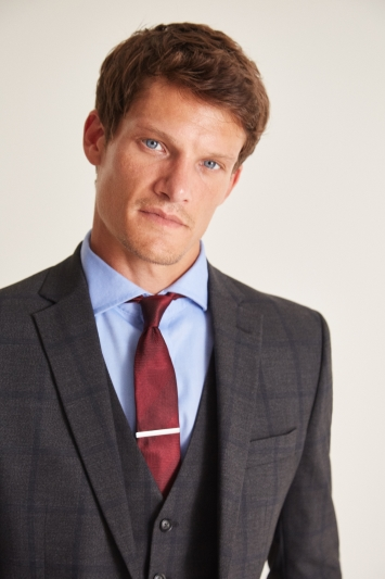Moss 1851 Tailored Fit Charcoal Windowpane Check Jacket