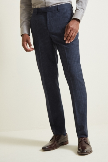 Moss 1851 Tailored Fit Navy Puppytooth Trouser