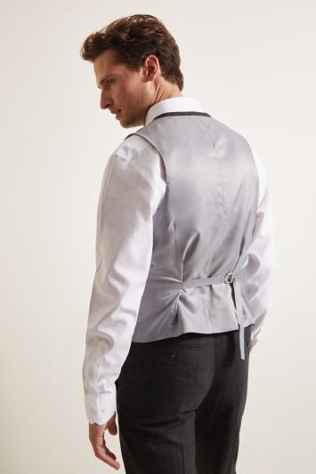 Moss Esq. Regular Fit Charcoal Windowpane Check Waistcoat