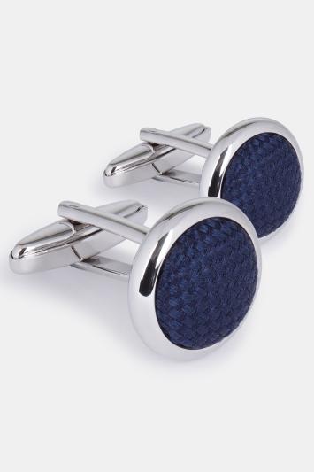 Silver with Navy Silk Cufflink