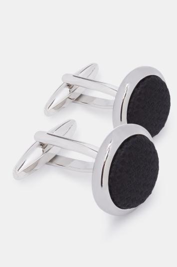 Silver with Black Silk Cufflink