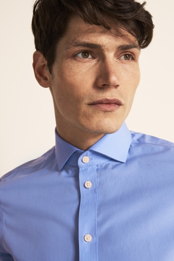 Moss 1851 Tailored Fit Cornflower Blue Single Cuff Poplin Zero Iron Shirt