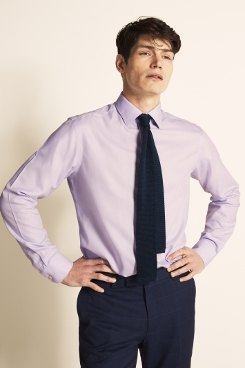 Moss 1851 Tailored Fit Lilac Single Cuff Herringbone Stripe Zero Iron Shirt