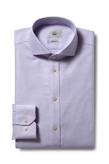 Moss 1851 Tailored Fit Lilac Single Cuff Dobby Zero Iron Shirt