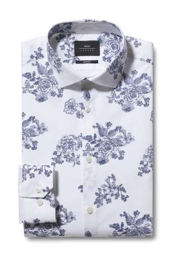 Slim Fit Navy Floral Print Shirt