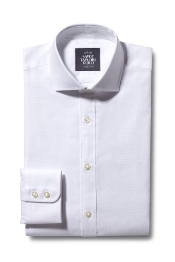 Regular Fit White Dobby Shirt
