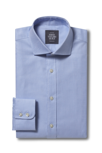 Savoy Taylors Guild Regular Fit Sky Single Cuff Dobby Shirt