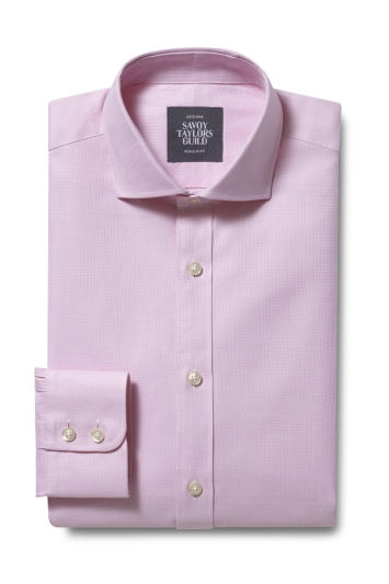 Savoy Taylors Guild Regular Fit Pink Single Cuff Dobby Shirt