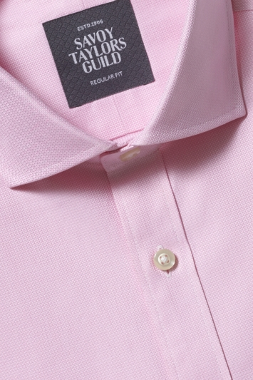 Savoy Taylors Guild Regular Fit Pink Single Cuff Dobby Shirt