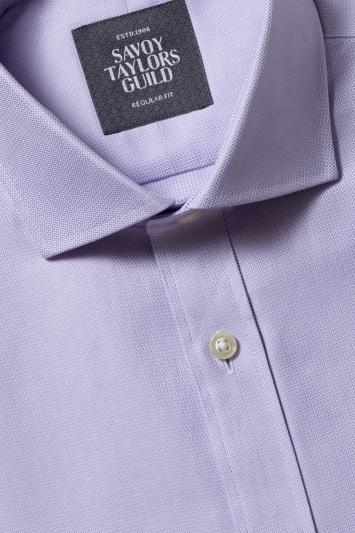 Savoy Taylors Guild Regular Fit Lilac Single Cuff Dobby Shirt