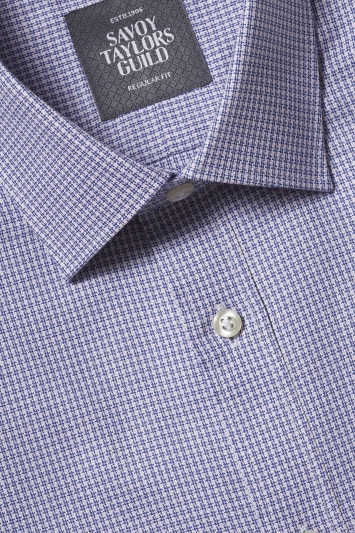 Savoy Taylors Guild Regular Fit Pink & Blue Single Cuff Puppytooth Shirt
