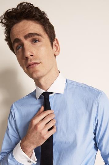 Savoy Taylors Guild Regular Fit Sky Double Cuff Contrast Collar Shirt