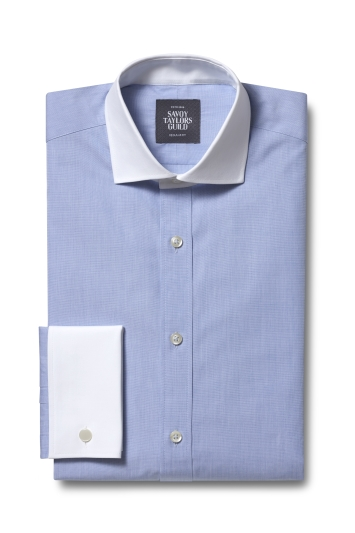 Regular Fit Sky Double Cuff Contrast Collar and Cuff Shirt