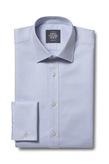 Savoy Taylors Guild Regular Fit Sky Double Cuff Dobby Shirt
