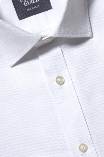 Regular Fit white Double Cuff Herringbone Shirt