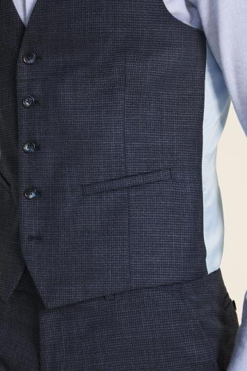Moss London Slim Fit Navy Puppytooth Waistcoat