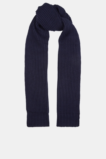 Moss 1851 Navy Chunky Knitted Scarf