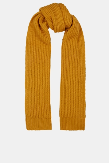 Moss 1851 Mustard Chunky Knitted Scarf