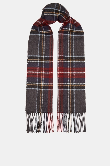 Moss 1851 Charcoal, Navy & Red Check Scarf