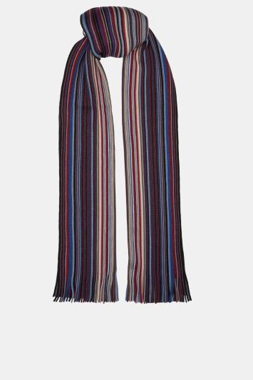 Moss 1851 Blue, Red & Grey Stripe Knitted Raschel Scarf