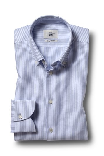 Moss 1851 Tailored Fit Sky Single Cuff Button Down Stripe Shirt