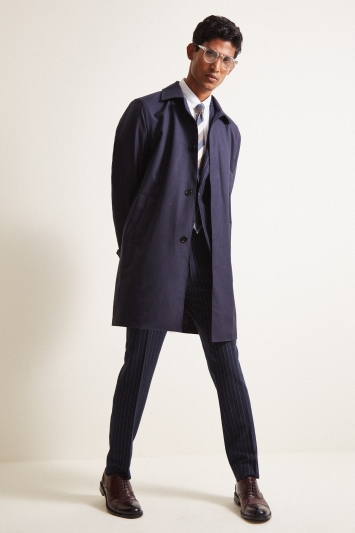 Moss London Slim Fit Navy Bonded Travel Raincoat