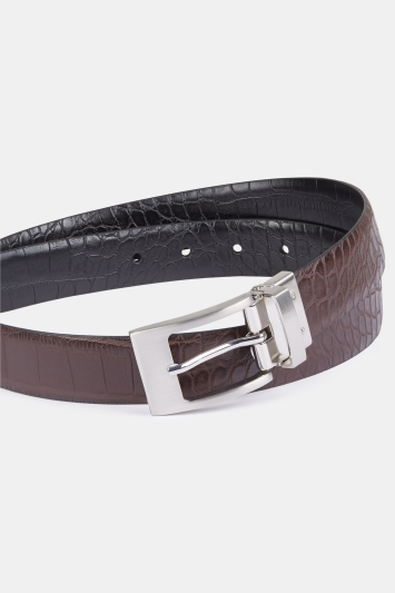 Black/Burgundy Croc Reversible Belt