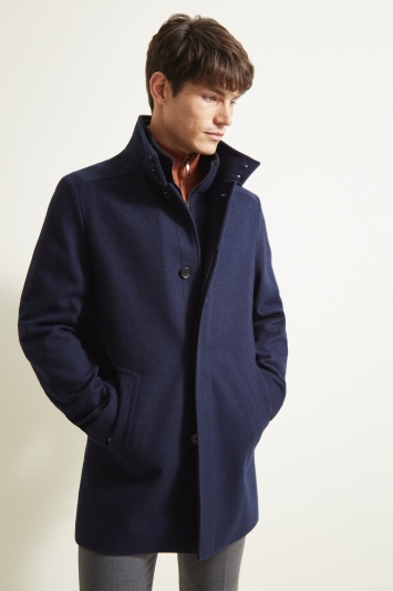 Moss 1851 Tailored Fit Navy Wool Funnel Coat