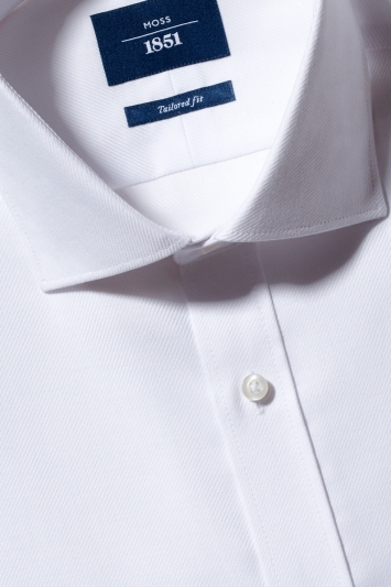 Moss 1851 Tailored Fit White Single Cuff Twill Non-Iron Shirt