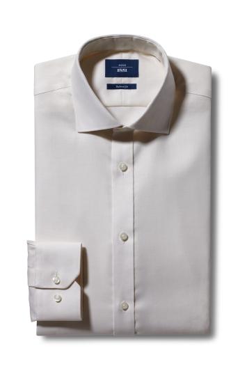 Moss 1851 Tailored Fit Cream Single Cuff Twill Non-Iron Shirt
