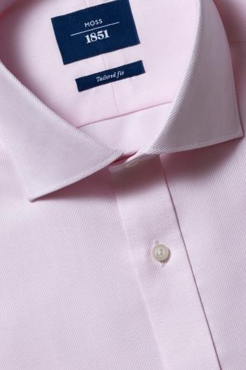 Moss 1851 Tailored Fit Pink Single Cuff Twill Non-Iron Shirt