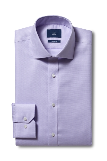 Moss 1851 Tailored Fit Lilac Single Cuff Twill Non-Iron Shirt