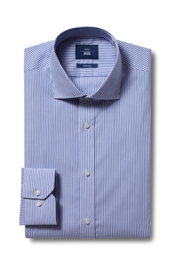Moss 1851 Tailored Fit Blue Single Cuff Bengal Stripe Non-Iron Shirt