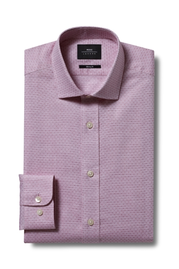 Moss London Premium Skinny Fit Pink Single Cuff Dobby Shirt