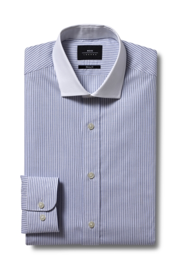 Moss London Premium Skinny Fit Sky Single Cuff Stripe Contrast Shirt