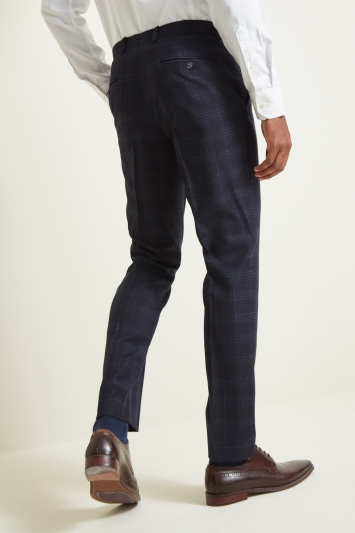 Moss 1851 Tailored Fit Blue Check Trousers