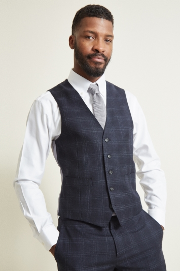 Moss 1851 Tailored Fit Blue Check Waistcoat