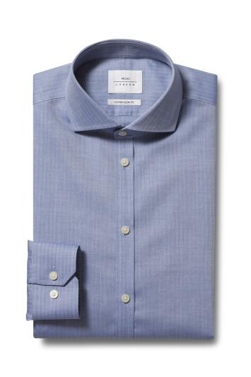 Moss London Premium Extra Slim Fit Blue Single Cuff Herringbone Zer...