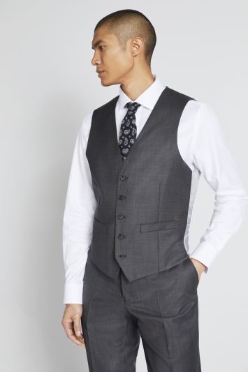 Lanificio F.lli Cerruti Dal 1881 Tailored Fit Charcoal Texture Waistcoat