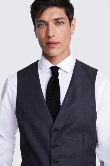 Lanificio F.lli Cerruti Dal 1881 Tailored Fit Charcoal Texture Waistcoat