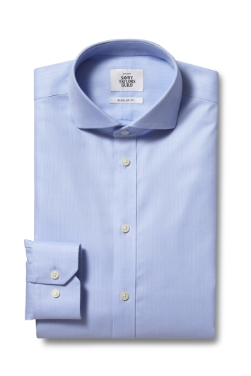 Savoy Taylors Guild Regular Fit Sky Single Cuff Herringbone Zero Iron Shirt