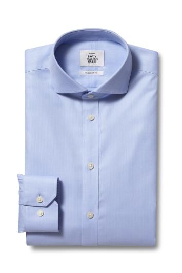 Savoy Taylors Guild Regular Fit Sky Single Cuff Herringbone Zero Iron Shirt