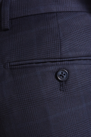 Moss Esq. Regular Fit Navy Check Trousers